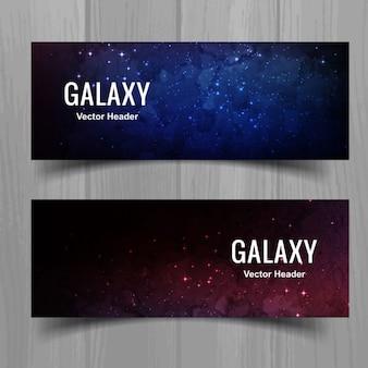 Banners elegantes oscuros de galaxia