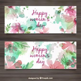 Banners en acuarela del día de la mujer