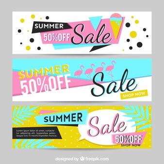 Banners estilo memphis para las rebajas de verano