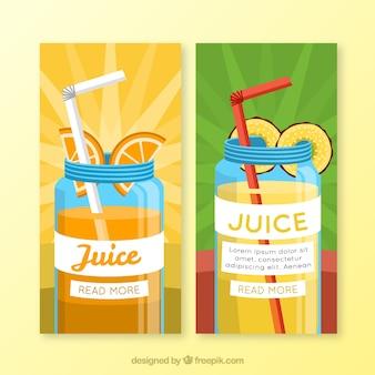 Banners fantásticos de zumos de fruta sabrosos
