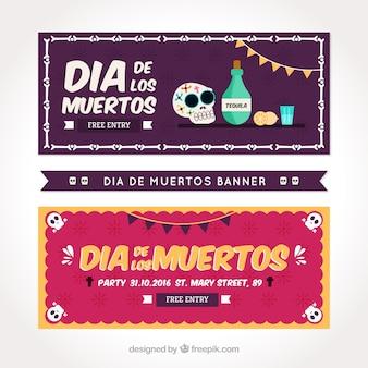 Banners festivos en el estilo plano para el día de los muertos