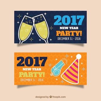Banners festivos para celebrar el año nuevo