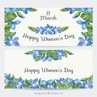 Banners florales en acuarelas del día de la mujer