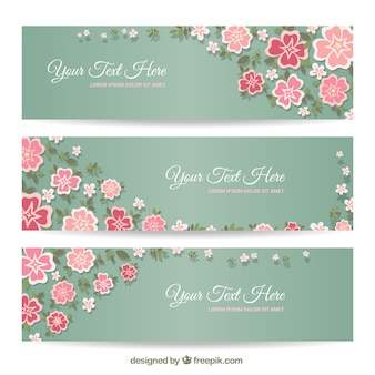 Banners florales en colores pastel