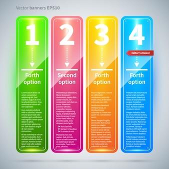 Banners flotantes de colores brillantes con opciones