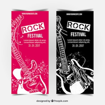 Banners geniales con guitarras dibujadas a mano