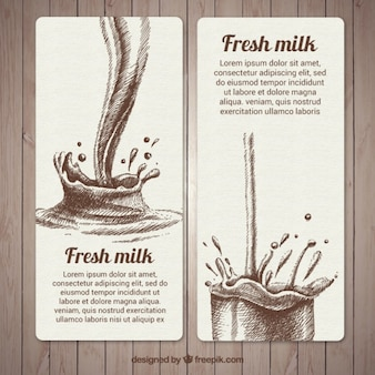 Banners geniales dibujados a mano de salpicaduras de leche fresca