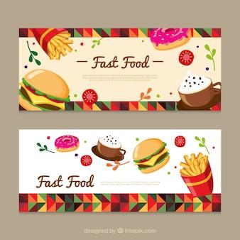 Banners geométricos de comida rápida