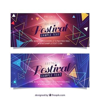 Banners geométricos de festival de música
