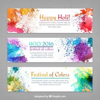 Banners Holi de salpicaduras coloridas