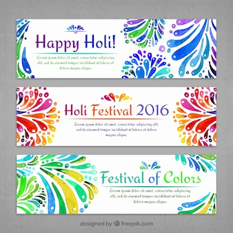 Banners Holi decorativos de acuarela