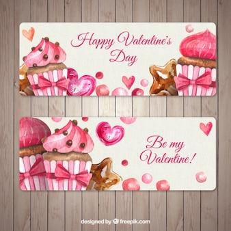 Banners impresionante con magdalenas para el día de san valentín