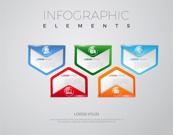 Banners infográficos con forma triangular