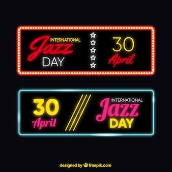Banners luminosos de jazz