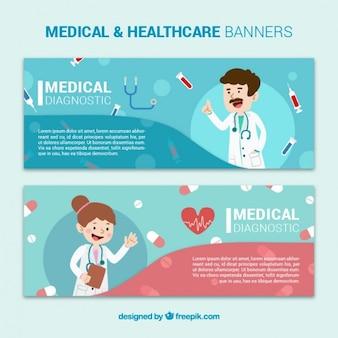 Banners médicos con doctores
