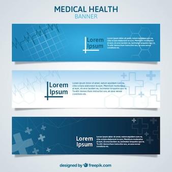Banners médicos azules abstractos