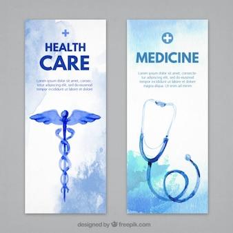 Banners médicos con estetoscopios