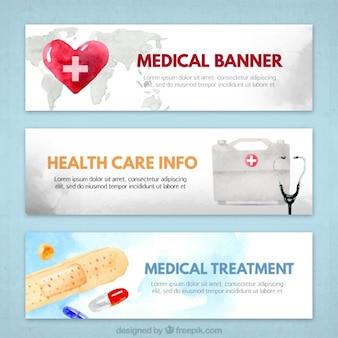 Banners médicos en acuarela