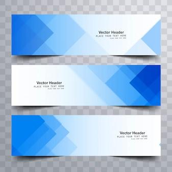 Banners modernos azules con formas triangulares