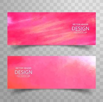Banners modernos rosas de acuarela