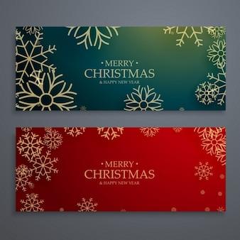 Banners navideños con copos de nieve dorados