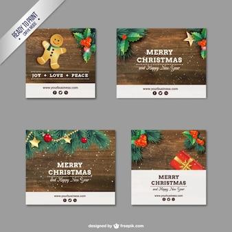 Banners navideños de madera