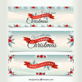 Banners navideños nevados