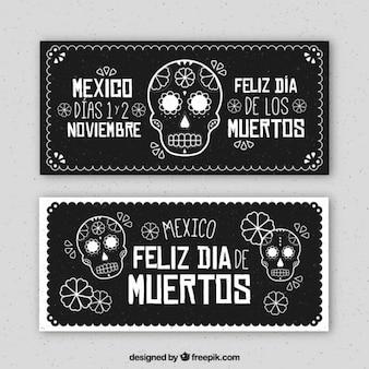 Banners negros del día de los muertos