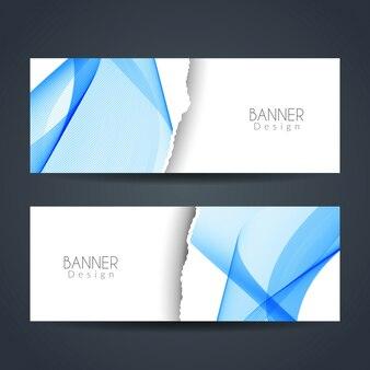 Banners ondulados estilo papel rasgado