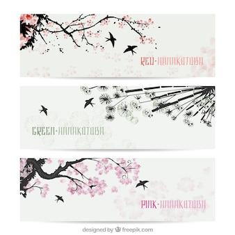 Banners orientales pintados a mano en estilo japonés