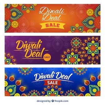 Banners ornamentales de ofertas de diwali