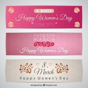 Banners ornamentales florales del día de la mujer
