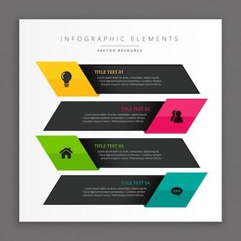 Banners oscuros infográficos de negocios