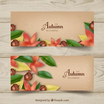 Banners otoñales con hojas, flores y bellotas realistas