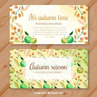 Banners otoñales con hojas y manzanas en acuarela