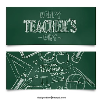 Banners para un feliz día del profesor en pizarra