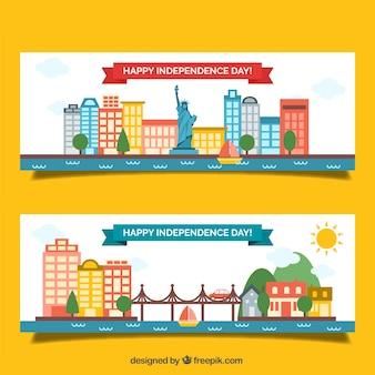 Banners planos americanos del día de independencia