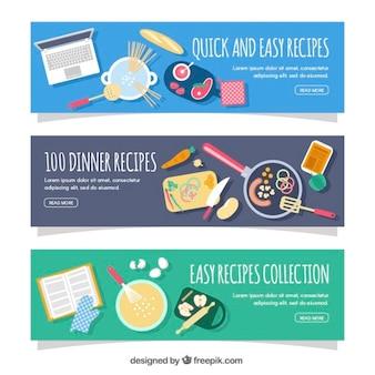 Banners planos con diferentes recetas