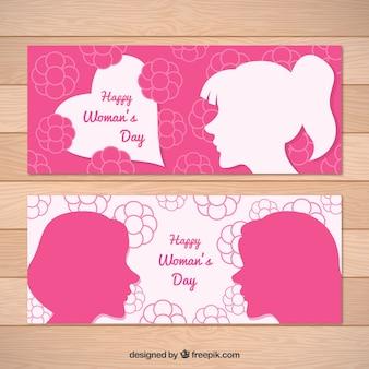 Banners planos con flores y siluetas para el día de la mujer