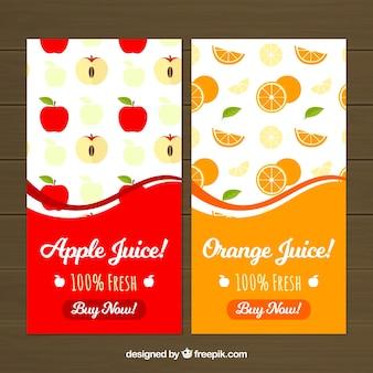 Banners planos con manzanas y naranjas