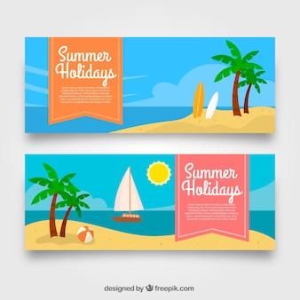 Banners planos con paisaje de playa