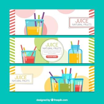 Banners planos con zumos de fruta
