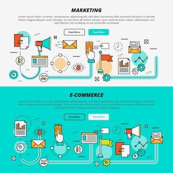 Banners planos de marketing y comercio electrónico