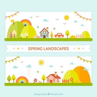 Banners planos de paisaje de primavera