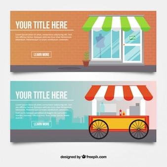 Banners planos de tiendas