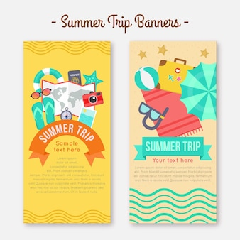 Banners planos de verano con elementos
