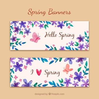 Banners primaverales de acuarela morada