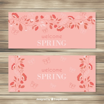 Banners primaverales de flores naranjas
