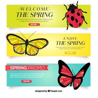 Banners primaverales de insectos dibujados a mano