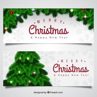 Banners realistas de navidad con árbol